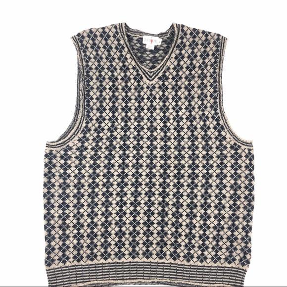 J.CREW Sweater Vest Black V Neck Wool Argyle
